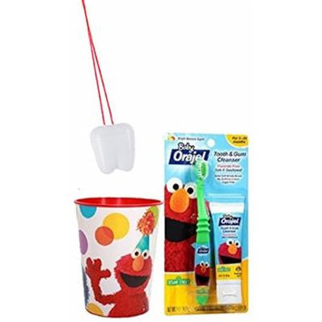 Sesame Street's Elmo 3pc. Bright Smile Oral Hygiene Set! (1) Soft Manual Toothbrush, Toddler Training Toothpaste & Mouthwash Rinse Cup! Plus Bonus