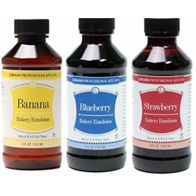 LorAnn Oils Gourmet Bakery Emulsion Banana, Blueberry, and Strawberry Bundle (Pack of 3)