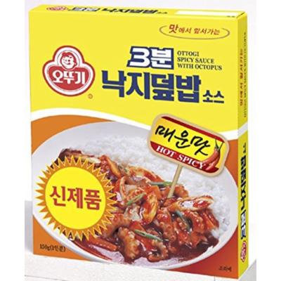 Ottogi's 3 Minutes Instant Meal Box of 8 Combos (Curry, Black Bean Sauce, Hashed Brown Sauce, Spicy Sauce with Kimchi & Tuna, and Spicy Sauce with Octopus) (Spicy Sauce with Octopus (PACK OF 8))