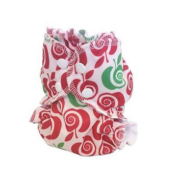 Applecheeks Christmas-Themed Cloth Diaper Cover - Breathable, Waterproof Cover Sewn to a Soft Microfleece Inner Layer - Red and Green Delishmas (Size 1 (7 - 20 lbs))