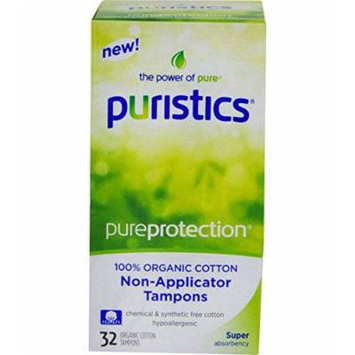 Puristics, Pureprotection, Organic Cotton Non-Applicator Tampons, 32 Super Absorbeny, No Chemical and Synthetic Cotton Hypoallergenic