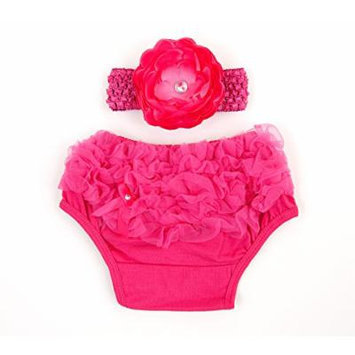 Ema Jane Ruffled Woven Baby Diaper Bloomer Covers (Choose From Many Colors or Styles) (3 months to 18 months, Fuchsia with Accessory)