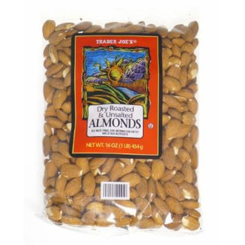 Trader Joe's Dry Roasted and Unsalted Almonds - 1lb (4 - Pack)