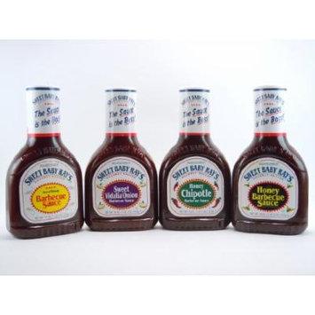 Sweet Baby Ray's Variety 4 Pack-Original BBQ Sauce-Honey BBQ Sauce-Honey Chipotle BBQ Sauce-Sweet Vidalia Onion BBQ Sauce-18oz.bottles