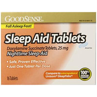 GoodSense Sleep Aid Doxylamine Succinate tablets, 25mg, 16-count (Pack of 24)