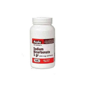 Rugby Sodium Bicarbonate 5 grains (325MG) Tablets Relieve Heartburn, Antacid - 1000 ea