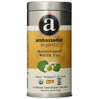Ambassador Organics Biodynamic White Tea, 15 Count, 1.45 Ounce Tins (Pack of 2)
