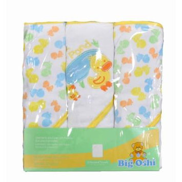 Big Oshi Baby Infant 3 Hooded Assorted Towels (Yellow)