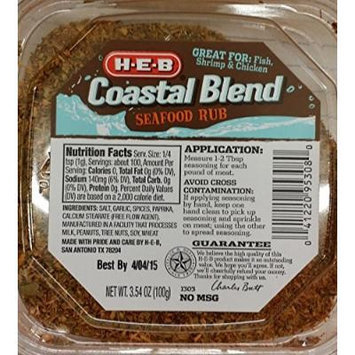 HEB Meat Seasoning 3.54-4.75 Oz (Pack of 4) (Coastal Blend Seafood Rub 3.54 Oz)