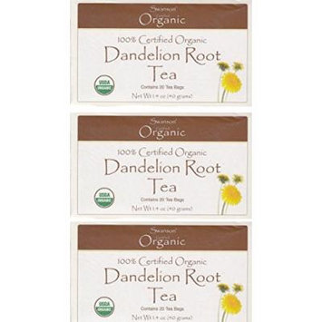 Swanson Certified Organic Dandelion Root Tea -- 3 Boxes each of 20 Tea Bags