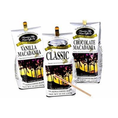 Kona Coffee Blend Bundle: (1) Kona Classic 10oz. (1) Kona Vanilla Macadamia 10oz. (1) Kona Chocolate Macadamia 10oz. (1) Sillywhim Coffee Stirrer