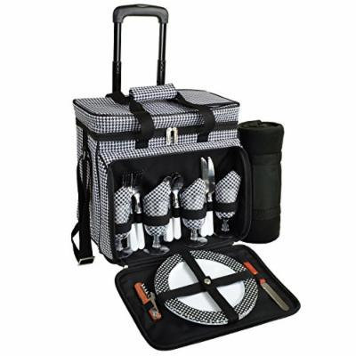 Picnic at Ascot Equipped Picnic Cooler On Wheels, Black