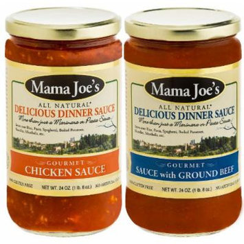 Mama Joe's Delicious Gourmet Sauce - Chicken & Ground Beef. Meat Stew Bolognese Spaghetti Pasta Rice Meatballs. All Natural Gluten Free No High Fructose Corn Syrup No MSG Reduced Sodium 2Pack - 24oz