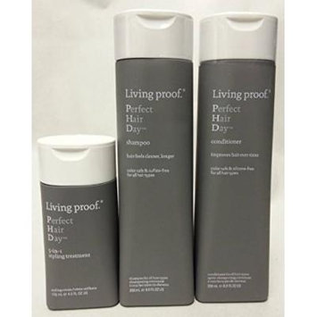 Living Proof Perfect Hair Day Shampoo 8 oz. Conditioner 8 oz. and 5-in-1 Styling Treatment 4 oz (Set of 3)