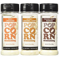 Urban Accents Popcorn Seasoning, Buttery Caramel Corn / Cracked Pepper Asiaga / White Cheddar, 2.25 oz. (Pack of 3)