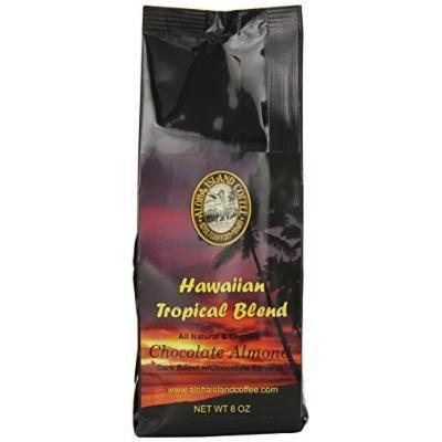 Aloha Island Coffee Chocolate Almond Organic Hawaiian Coffee Blend, Ground, 8 Ounce Package