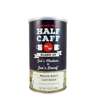 Trader Joe's HALF CAFF 50/50 Medium Roast Light Bodied Whole Bean Coffee (Pack of 2)