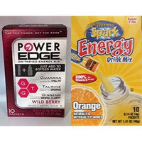Energy Drink Mix Variety Pack, 2 Morning Spark, Orange & 2 Power Edge, Wild Berry, Each box contains 10 packets(Pack of 4 Boxes)