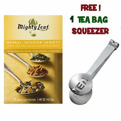 Mighty Leaf Tea , Herbal Infusion Variety ,(With FREE Tea Bag Squeezer) (1 Pack)