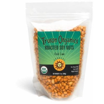Truson Organics Dry Roasted Soy Nuts, Chili-Lime, 12-Ounce Resealable Bags (Pack of 12)