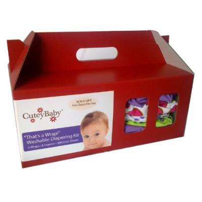 CuteyBaby 6 Pack That's a Wrap! Diapering Kit, Girl, Small