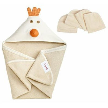 3 Sprouts Hooded Towel with Organic Wash Cloths, Chicken
