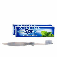 Xlear (2-PACK) Spry FLOURIDE FREE Toothpaste, Peppermint , Bundle With 1 SoFresh Flossing Toothbrush