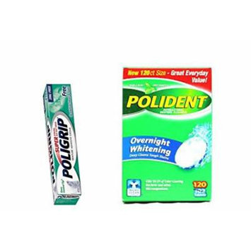 Polident Denture Cleaner Overnight Whitening with Triple-mint 120 Tablets and Poligrip Denture Adhesive Cream Zinc Free