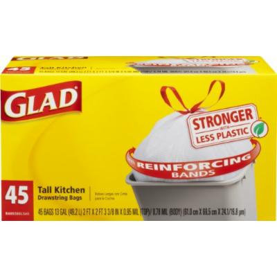 Glad Tall Kitchen Drawstring Trash Bags, 13 Gallon, 45 Count (Pack of 4)