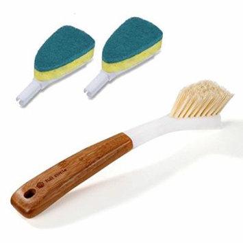 Full Circle Laid Back 2.0 Bamboo Dish Brush & 2pk Scrub Sponge Refill Set