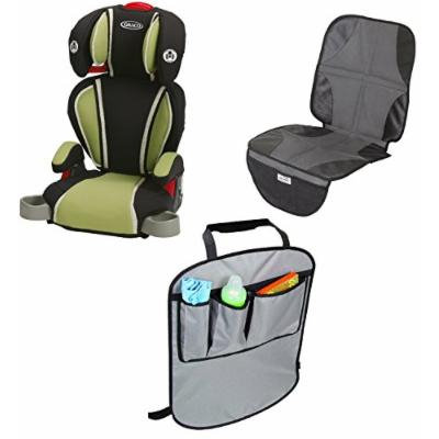 Graco Highback TurboBooster Booster Car Seat with Car Seat Mat & Back Seat Kick Protectors, Go Green