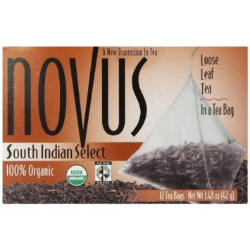 Novus South Indian Select 100% Organic Tea, Fair Trade, 12 Count Tea Bags