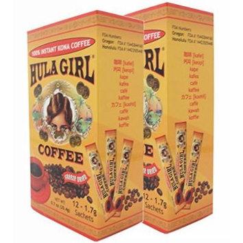 2 Boxes - 10% Hula Girl Kona Coffee Sachet (12 Sachets) 1.7 grams per sachet