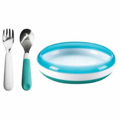 OXO Tot Fork and Spoon Set with Training Plate, Aqua