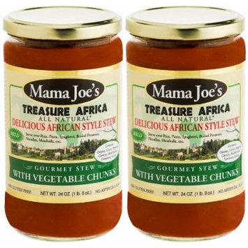 Mama Joe's -Treasure Africa Stew / Sauce with Vegetable Chunks. MILD. All Natural Gluten Free No High Fructose Corn Syrup Low Sodium (180mg/serving) 2 Pack - 24oz Big Jars. Rice, Potatoes, Meatballs