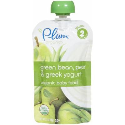 Plum Organics Stage 2 Greek Yogurt - Green Beans Pear & Greek Yogurt - 3.5 oz - 6 pk