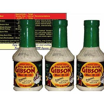 Big Bob Gibson Bar-B-Q Original White Sauce 16 oz (3 Pack) with Complimentary Miniature Meat Smoking Guide Magnet Bundle
