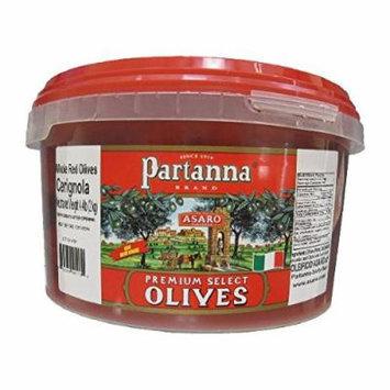 Partanna Premium Select Whole Red Cerignola Olives - 4.4 lb Pail