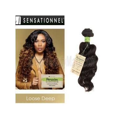 Sensationnel Unprocessed Peruvian Virgin Remy Human Hair Weave Bare & Natural Loose Deep [12