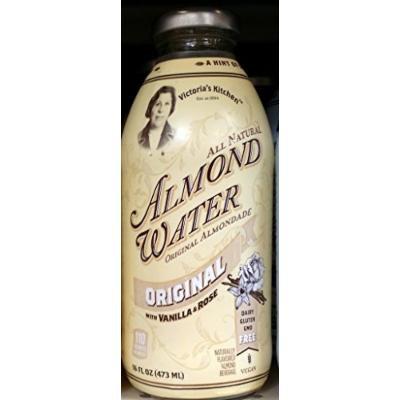 Victoria's Kitchen Almond Water, Original with Vanilla & Rose 16 Oz (Pack of 4)