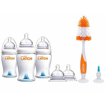 Munchkin Latch Anti-Colic 8 Ounce Baby Bottles with Replacement Stage 3 Bottle Nipples & Brush