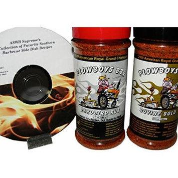 Plowboys Championship Barbecue BBQ Rub Bundle Pack (Yardbird 7 oz, Bovine Bold 6.5 oz, and Free Recipes DVD)