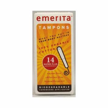 New - Emerita Organic Cotton Tampons Super Plus - 14 Tampons