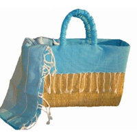 Scents and Feel Fully Lined Palm Leaf Basket with Fringes, Turquoise