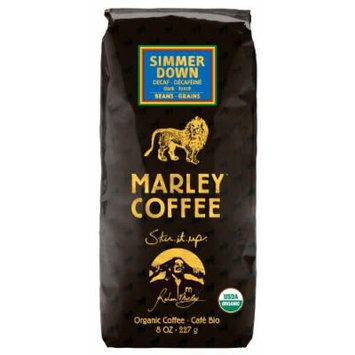 Marley Coffee, Organic Simmer Down Decaffeinated, Whole Bean Coffee, 8 Ounce