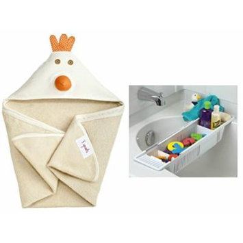 3 Sprouts Hooded Towel with Bath Storage Basket, Chicken