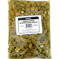 Green Olives Garlic Stuffed 5 Lb net Bag from Greece
