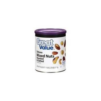Great Value Deluxe Roasted & Salted Mixed Nuts, 18.25 oz(Pack of 4)