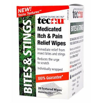 Tec Laboratories Tecnu Bites and Stings Medicated Itch and Pain Relief Wipes, 20 Count (Pack of 24)