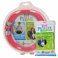 Pink Potette Plus Port-a-potty Training Potty Travel Toilet Seat - 2 in 1 Bundle with Potette Plus Liners - 30 Liners